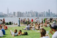 Photograph of people in a park in New York City