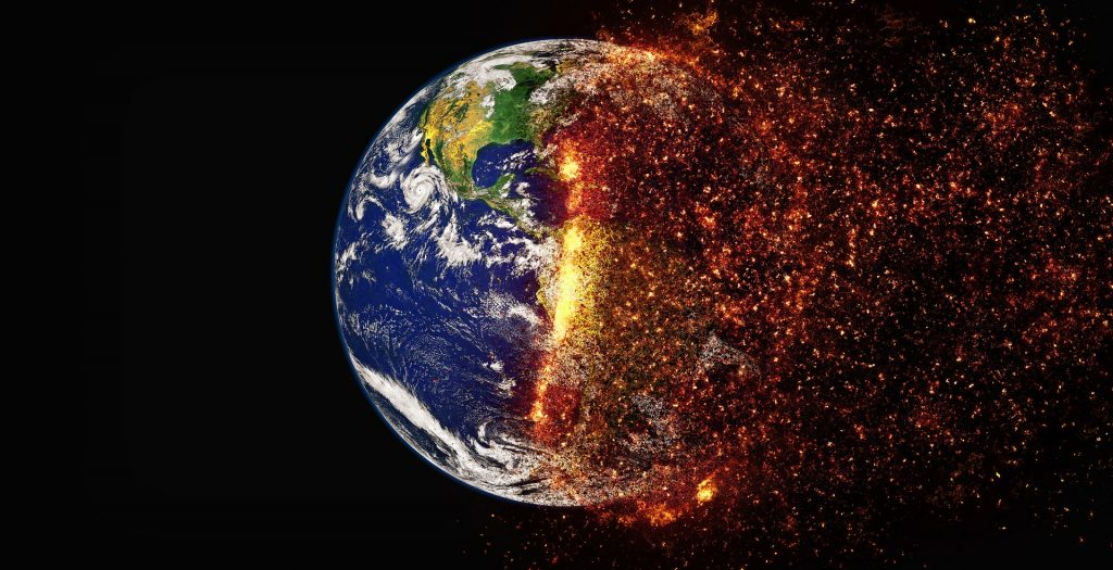 photoshopped image of the earth burning