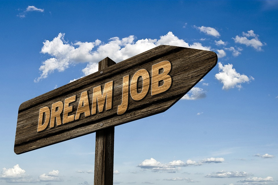 "Photograph of a sign saying ""Dream Job"""