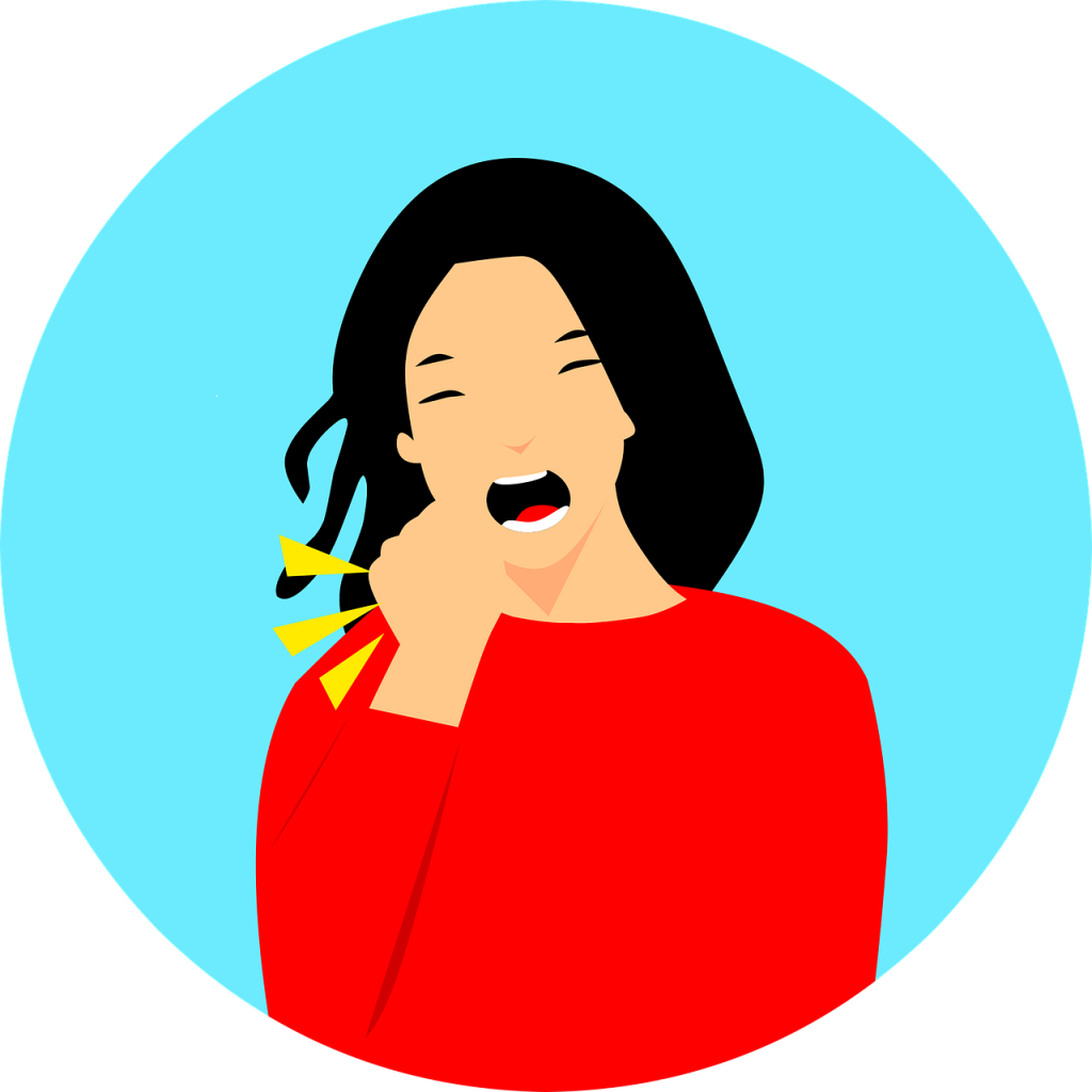 image of woman coughing
