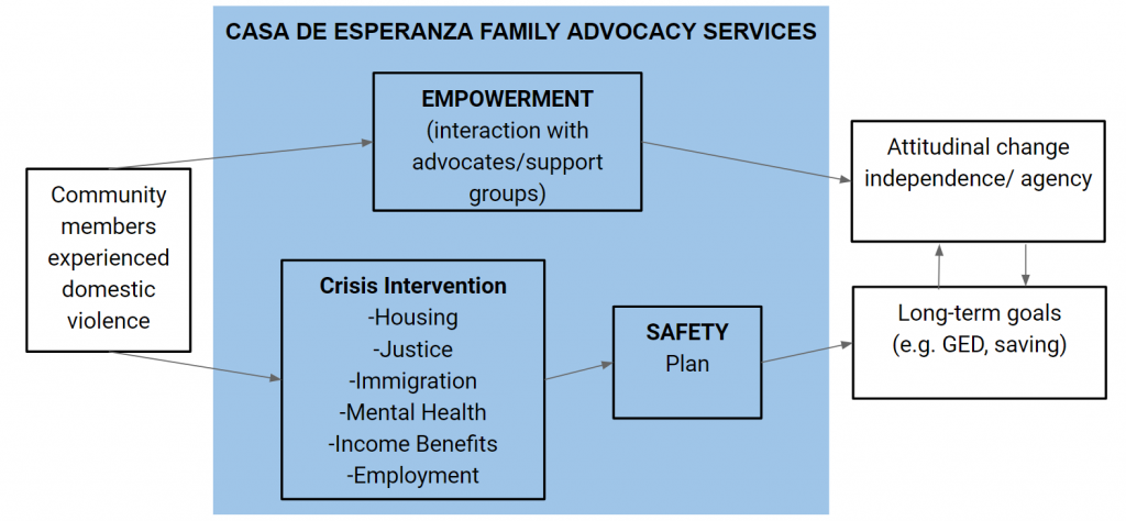 Logic Model of FAI Services including empowerment, crisis intervention, and safety.