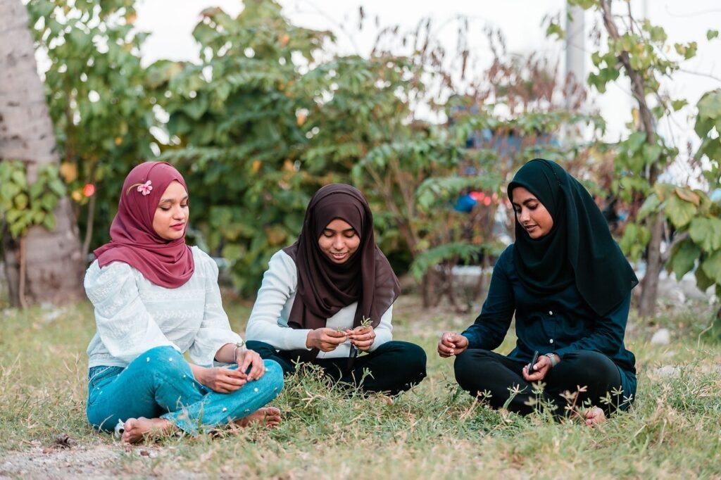 Photo of three women talking